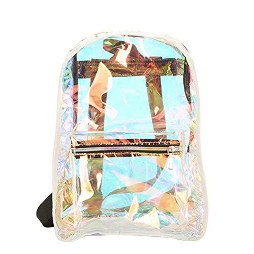 BESTOYARD Frauen-PVC-freier Laser-Rucksack-transparente Hologramm-Schulter-Geleebeutel für Schule oder Reise (weiß)