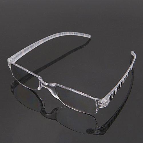 Ncbvixsw Unisex Transparente Streifen Rahmenlose Flexible Lesebrille Brillenleser + 1.00 ~ + 4.00