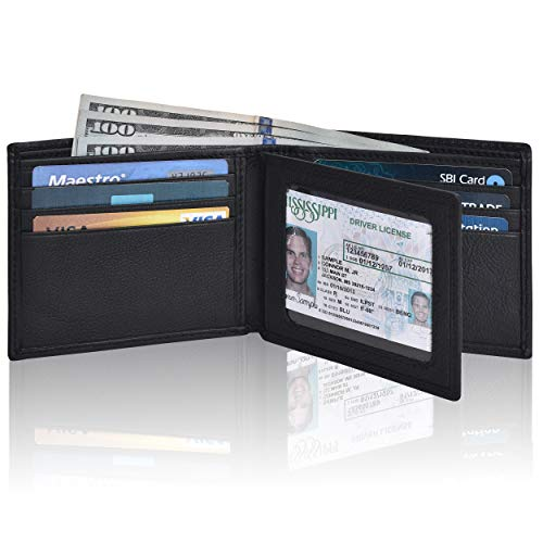 Front Pocket Wallet for Men - RFID Blocking Leather Bifold Wallet with ID Window (Charcoal)