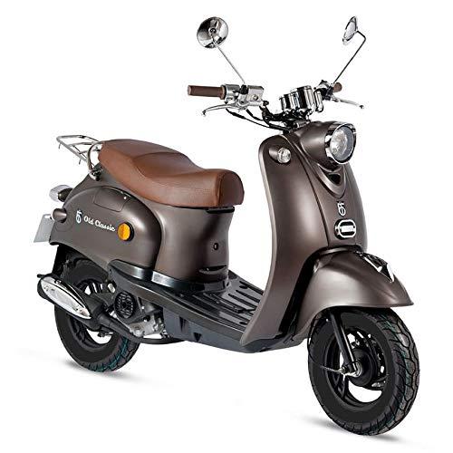 Motorroller GMX 460 Retro Classic 25 km/h braun matt- sparsames 4 Takt 50ccm Mofa mit Euro 4 Abgasnorm