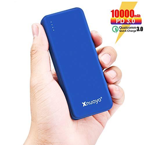 Xnuoyo PD 18W Schnellladung 3.0 Power Bank, 10000mAh Power Delivery Tragbares Ladegerät, ultraflacher Typ C-Eingang / Ausgang Externer Akku Kompatibel mit den Meisten Smartphones(Blue)