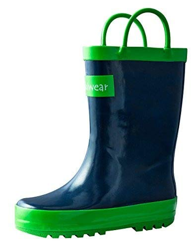 OAKI Kids Waterproof Rain Boots with Easy-On Handles, Navy Blue, 4T US Toddler