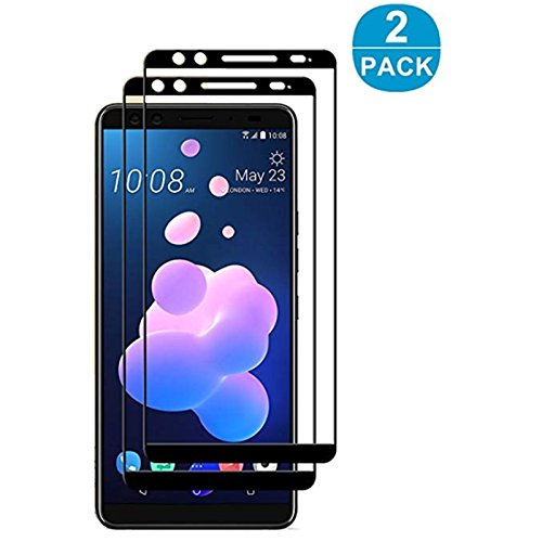 for HTC U12 Plus Ultra Screen Protector [2 Pack] - Full Cover Tempered Glass For HTC U12 Plus Black Silk Screen Protector Tempered Glass