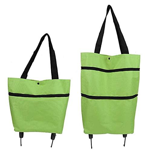 Bolsa de carrito de compras plegable, Carrito de compras Oxford reutilizable plegable con rueda para viajes de supermercado a casa(Verde)