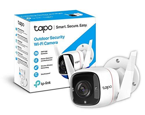 TP-Link TAPO Camara Vigilancia wifi Exterior, 3MP Alta Resolución, IP66 a Prueba de Agua y Polvo, Hasta 30m Visión Nocturna, Detección de Movimiento & Alarma Instantánea, Admite Tarjeta SD de 128GB