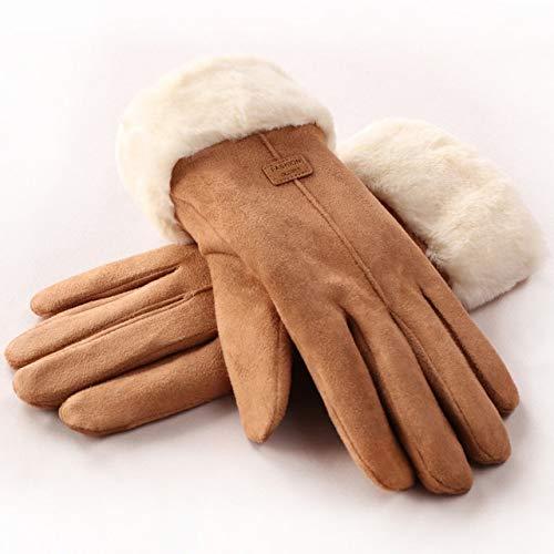 Señoras Guantes de Invierno Damas niñas al Aire Libre Caliente Forro de Dedos Completo Guantes de conducción Mitones - Caqui, a