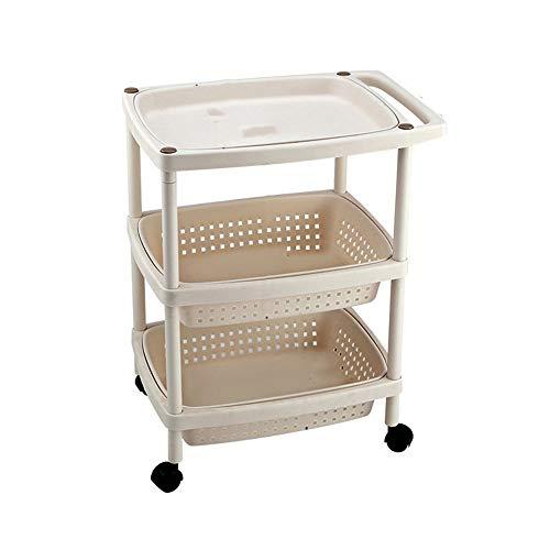 4-Tier-Rollen Küchenwagen, Hohl-Korb und Tablett Multifunktionale Trolley Regale for das Badezimmer/Büro/Wohnzimmer (Size : 3tier)