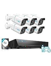Reolink 4K PoE CCTV-beveiligingscamerasysteem H.265, 6 stuks 8MP Persoon- / voertuigdetectie Outdoor PoE IP-camera's, 8CH NVR met 2TB HDD voor 24/7 opname van 100ft Nachtzicht, RLK8-810B6-A