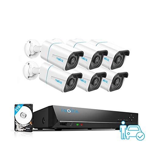 Reolink 4K Kit Videosorveglianza IP PoE, Intelligente Rilevamento di persone e veicoli, 8CH 2TB NVR e 6X 8MP Telecamera Esterno PoE Impermeabile, Visione Notturna, Registrazione 24 7, RLK8-810B6-A