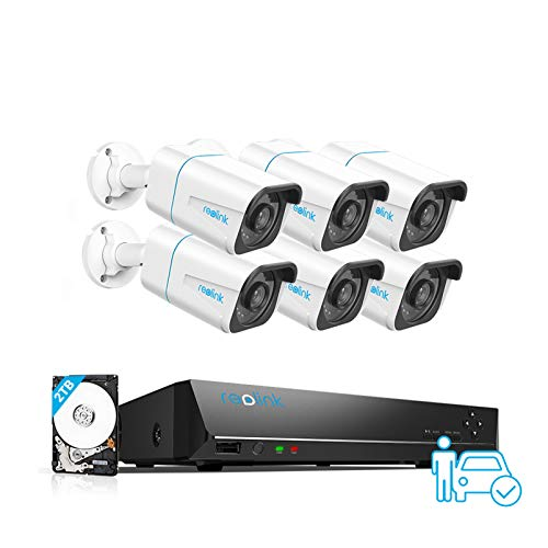 Reolink 4K Ultra HD Kit de Cámara de Vigilancia PoE 8CH, 6X 8MP Detección de Personas y Vehículos Cámaras IP PoE, NVR Sistema con 2TB HDD para grabación 24/7 Visión Nocturna Audio, RLK8-810B6-A