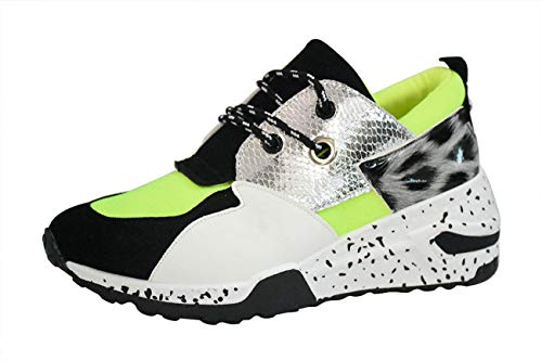 LUCKY STEP Women's Climbing Hiking Retro Jogger Cliff Sneakers Running Sport Trainer Shoes (9 B(M) US, Neon Green)