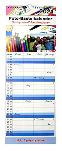 DIY Fotokalender zum selbstgestalten 2021 - Kalender mit 4 Spalten als Familienplaner   Familienkalender mit Ferientermine aus festem Bastelpapier   Bastelkalender selbst gestalten in 19 cm x 52 cm