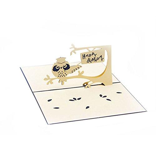 GECOMO 3D Grußkarte, 3D Pop Up Karte Eule Symbol Weisheit Alles Gute zum Geburtstag Danke Kindertag Weihnachten,