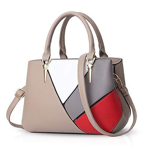 NICOLE & DORIS Handtaschen für Damen Taschen Leder Damen Handtasche die neuesten Trends Spleiß Farbe Umhängetaschen Khaki