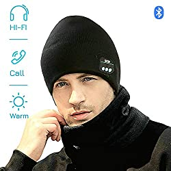 EXCOUP Bluetooth Beanie Hat, Music Hat Knitted Hat With Headset Microphone Hands-Free Function for Outdoor Sport Ice Skating Hiking Camping Unisex
