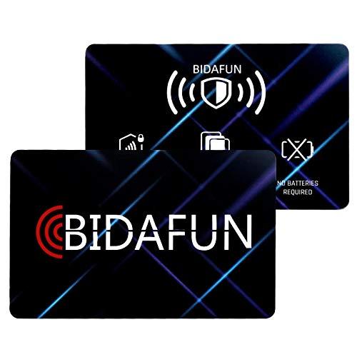 EINWEG bidafun Kompatible NFC/FRID-Blocker-Kartenschutzhüllen [ 2 Stück] Kreditkartengeschützte Brieftaschen-Kartenhüllen Reisepass, absoluter Leseschutz nicht erlaubt