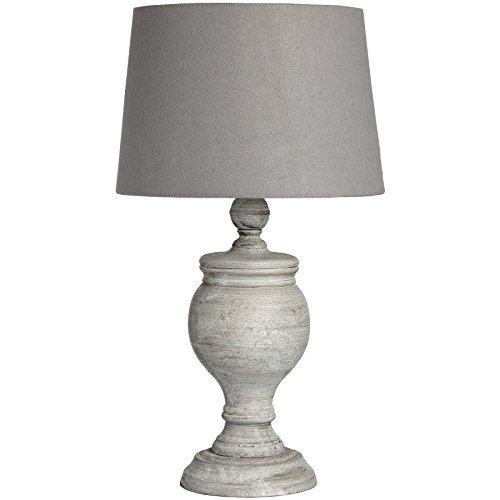Athena - Lámpara de mesa (madera, 32 cm), color blanco y gris
