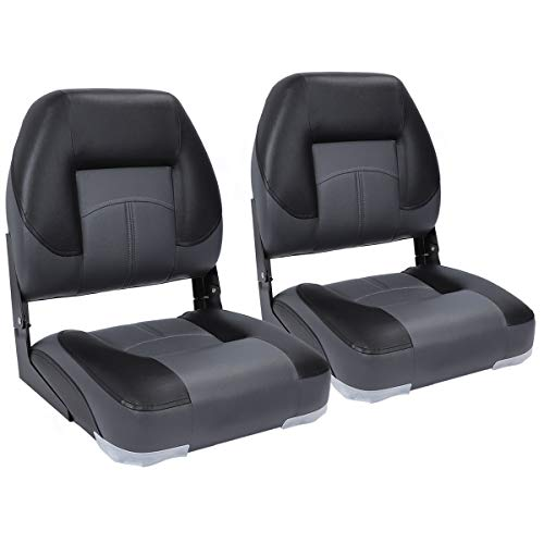 North Captain T1 Deluxe Low Back Folding Boat Seat (2 Seats), Charcoal/Black
