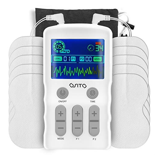 TENS Unit Muscle Stimulator Color Display OSITO Dual Channel Electric Pulse Impulse Massager TENS Machine Muscle Therapy 25-Mode 50-Intensity 10 Electrode Pads for Pain Relief