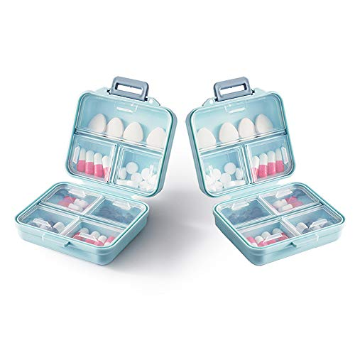 HQAA Pill Boxes 7 Day 1 Times a Day with Independent Lid Good Sealing (2pack) Pill Organisers Can Store Regular Medicines, Supplements and Vitamins for Next Week(Color:2 PACK,Size:S)