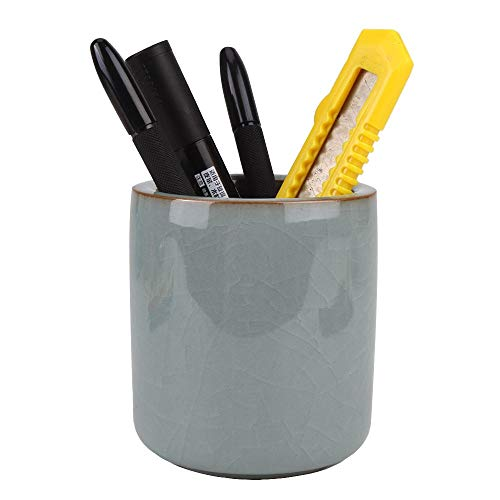 Amoysanli Ceramic Pen and Pencil Holder, Cup Pen Holder, Desk Organizer and Makeup Brush Holder for Office, School and Home(Grey(Ice Crack))