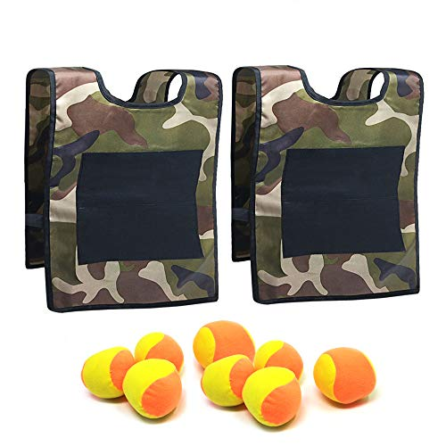 TOPGRADE Dodge Ball Attack! Game Set - Soft Fleece Balls and Sticky Vest Targets are Safe Family Fun for Kids and Adults, Outdoors or Indoors (Green, for Kids)