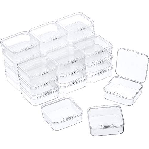 24 Packs Small Clear Plastic Beads Storage Containers Box with Hinged Lid for Storage of Small Items, Crafts, Jewelry, Hardware (2.12 x 2.12 x 0.79 Inches)