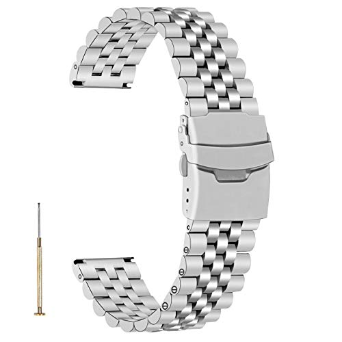 Juntan Rilascio rapido 3D Cinturino Acciaio Argento Avvitare Cinturino orologio da 22mm per uomo donna Cinturino di ricambio per orologio affusolato