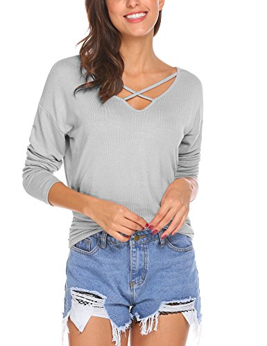 Unibelle Damen T-Shirt V-Ausschnitt Mit Schnürung Vorne Oberteil Tops Bluse Langarm Shirt Pastell Grau S
