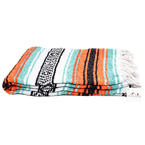 Open Road Goods Mexican Blanket in Mint, Orange & Black - Great for The Beach, Picnics, Yoga, or as a Throw!!
