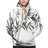 Nisdsgd Men's Hoodies Sweatershirt,Traditional Bamboo Leaves Meaning Wisdom Growth Renewal Unleash Your Power Artprint,L