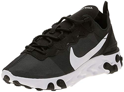 Nike W React Element 55, Zapatillas de Running para Mujer, Negro (Black/White...