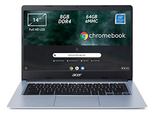 "Acer Chromebook 314 CB314-1H-P6K9 Notebook, PC Portatile, Processore Intel Pentium Silver N5030, Ram 8 GB DDR4, eMMC 64 GB, Display 14"" Full HD LED LCD, Scheda Grafica Intel UHD, Chrome OS, Silver"
