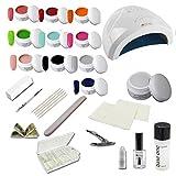 Nagelstudio Starterset CLASSIC INKL. UV FARBGELE - Einsteigerset - Nail Set für Nagelmodellage - Schablonentechnik und Nail Tips