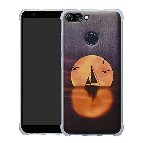 HHDY Asus Zenfone Max Plus (M1) Hülle, Painted Muster Weich Superdünne TPU Silikon Bumper Handyhülle Hülle für Asus Zenfone Max Plus (M1) ZB570TL,Sailboats und Moon