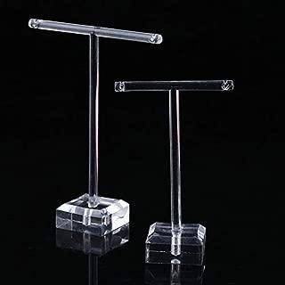 2pcs/Set Clear Plastic Earrings Showcase Display T Bar Stand Holder Organizer Jewelry Hanger Display Rack Kit - Clear