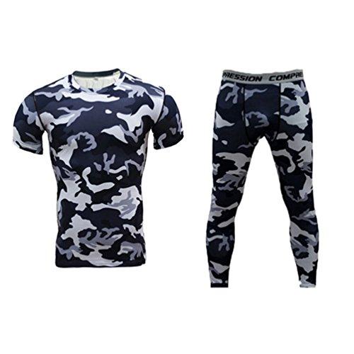 YiJee Uomo Breve strato asciutto compressione Base maglietta aderente e pantaloni elastici Piccolo