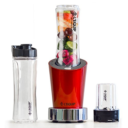 L'EQUIP 20 oz 250 Watts Personal Blender with 2 20 oz jars, sport lid & extra 8oz Jar & Grinder, For Smoothies, Shakes, Baby Formula, Baby Food, Grinding Coffee Nuts and Spices. BPA Free.