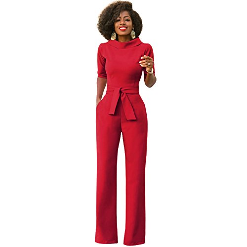 Mono Mujer Rojo Largo Fiesta Talla Grande 1/2 Mangas Jumpsuits Elegante Pantalones Pierna Ancha con Cinturón para Playa business oficina y Fiesta Cóctel Party Clubwear Noche