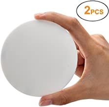Door Knob Wall Shield, White Round Soft Rubber Wall Protector Self Adhesive Door Handle Bumper Pack of 2 (Large Round Style 3.54