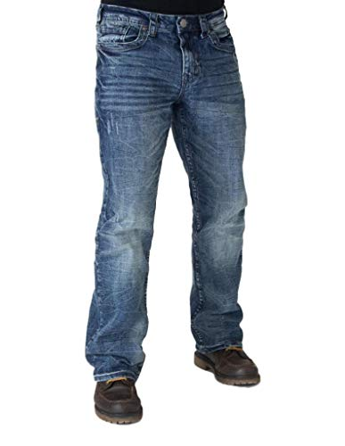 B. Tuff Western Jeans Mens Overdrive Stitching 31 Long Med Wash MOVRDR