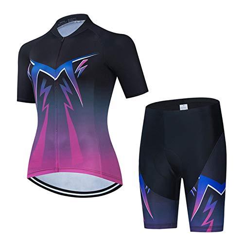 Women's Cycling Jersey Set, Pro Breathable MTB Bike Short Sleeve Clothing Cycling Bib Shorts - Reflective (Color : H, Size : Medium)
