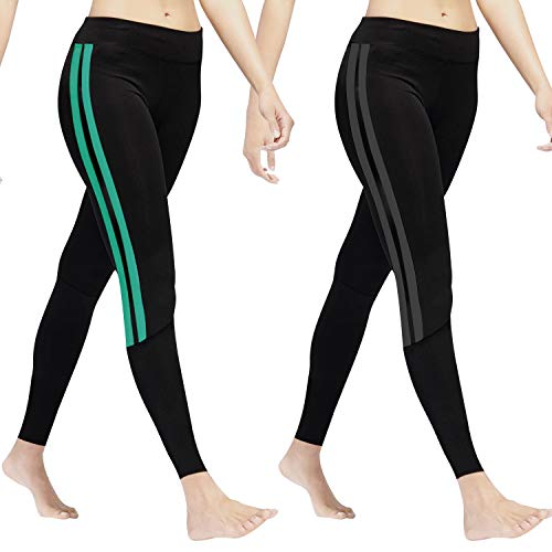 GoVIA Leggins para Damas Pantalones Deportivos Largos para Training Running Yoga Fitness Transpirables con Cintura Alta 4138 Turquesa+Gris L/XL