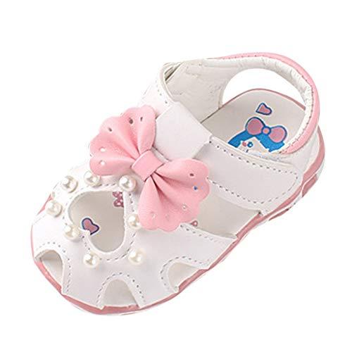 Allence Babyschuhe, Kleinkind Blumen Mädchen Sandalen beleuchtet weichen Sohlen Prinzessin Baby Schuhe (17, Weiß2)