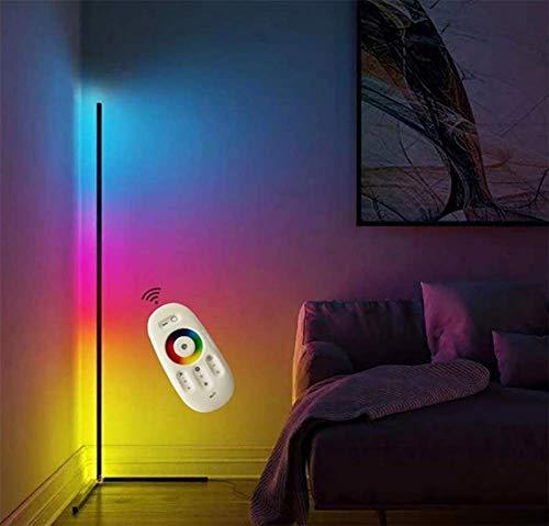 JINGBO LED Stehlampe Ecke Dekoration Heimstehleuchten 24W Wohnzimmer Moderne Vertikales Leselicht Dimmbar mit Remote Control für Schlafzimmer, Büro Energiesparende Tageslichtlampe