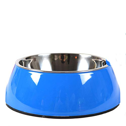 ZKBD-XTQ Antislip waterdichte klassieke huisdier voedsel huisdier benodigdheden, Kattenkom vast roestvrij staal kat voedsel kom te eten en drinken dual-use huisdier kom kitten kom, Blauw