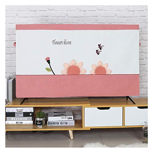 YMYP08 Nordic Minimalist TV Cover, met de hand genaaid patroon TV schermbescherming, 32-65 inch TV-afdekking, katoen en linnen waterdicht ademende afdekking