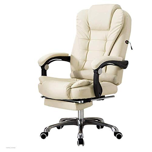 DBL Desk Chairs Backstage Boss Office Electronic Competitive Game Rotary Cotton Fabric with Computer Arm Desk Chairs (Color : White, Size : 50cm*50cm*137cm)