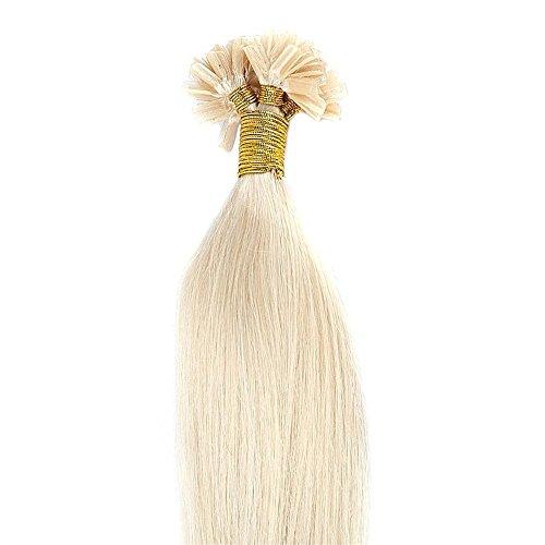 Echthaar Bondings Extensions 100 Strähnen x 0,5 - Remy Haarverlängerung 50cm - 50g platinblond #60