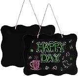 Pinsheng 2 Piezas Mini Pizarra de Madera, Colgantes de Madera de álamo con Diseño de Encaje para la oficina en el Hogar, Restaurantes, Bodas, Fiestas de Cumpleaños